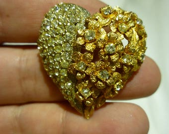 F22 Vintage Gold & Silver Tone with Rhinestones Heart Brooch.