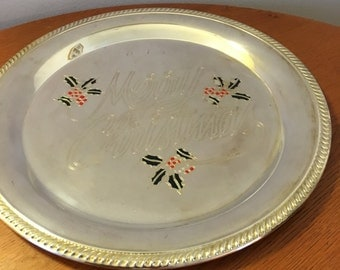 Vintage International silver  Christmas  tray