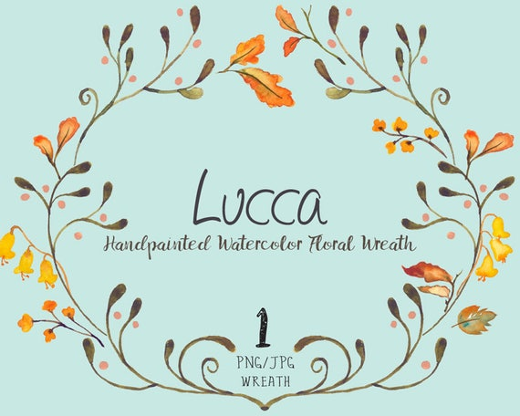 Digital Clipart- Watercolor Flower Clipart, wreath Clip art, Floral Bouquet Clipart, wedding flowers clip art- Lucca Wreath