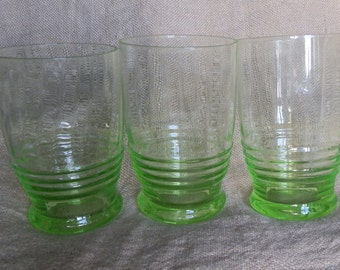 Three 1930's Art Deco Ridged Green Vaseline Glass Tumblers