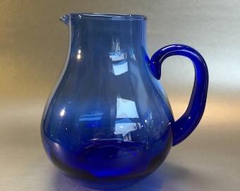 """7.25"""" Handblown Glass Cobalt Blue Water Pitcher Mint"""