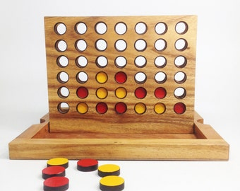 CONNECT 4, Wooden connect 4 game, handmade game, wooden game, wooden puzzle