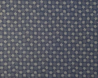 Japanese import New indigo colored cotton quilting fabric  - small sakura cherry blossom