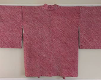 Women's unused, vintage red and black color shibori Haori kimono jacket
