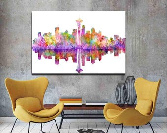 Seattle Skyline, Seattle Cityscape Art Print, Colorful Seattle Cityscape. Watercolor Cityscape