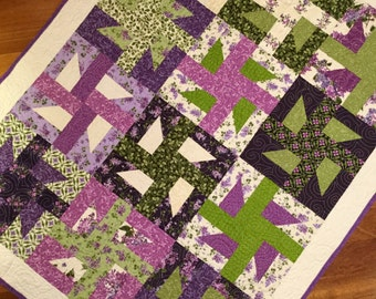 "Floral quilt Handmade modern quilt Lilac Windmills flower quilt throw baby blanket.  38"" x 49"" Maywood studio fabrics."