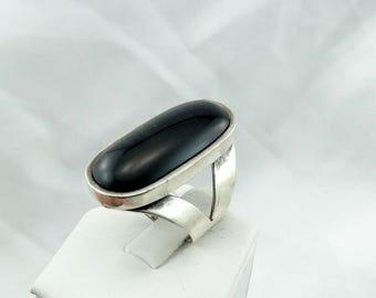 Simple Black Onyx in a Sterling Silver Ring  #BONYX-SR2