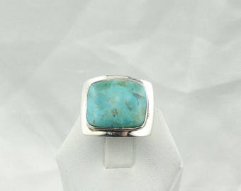 Handsome Vintage Square Turquoise Cabochon Sterling Silver Ring Size 7 1/2  #SQTQ-MS