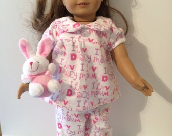 18 Inch Doll Pajamas Flannel Pajamas White Background with Cute I Love Mommy and I Love Daddy Fits All 18 Inch Dolls