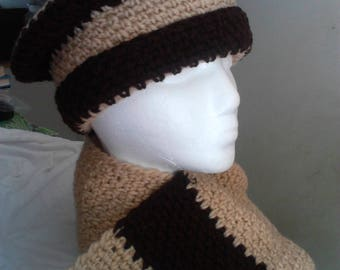 Beige and Brown Hat and Scarf