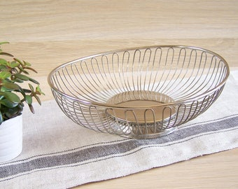 Silver wire bread or fruit basket | Made in France 1950