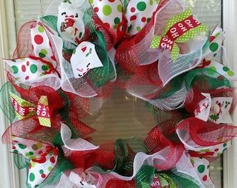 SALE Christmas Wreath, Holiday Wreath, Santa Wreath, Ho Ho Ho Wreath, Mesh Wreath, Deco Mesh Wreath, Ribbon Wreath