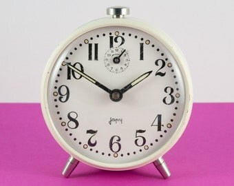 Mechanical Alarm Clock - by Japy - Ivory Color - French Vintage