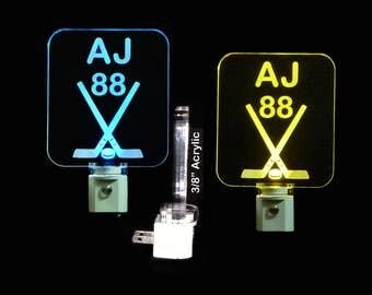 Hockey puck lamps etsy hockey night light personalized led lamp gift 38 acrylic mozeypictures Choice Image