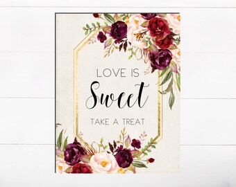 Love is Sweet Take a Treat Printable Floral Bridal Shower Bridal Favors Sign Table Bridal Sign Take a Treat Sign Floral Favor Sign