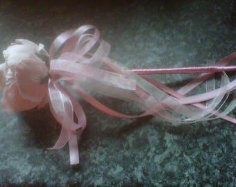 flower girl wand  foam peony  in vintage light pink