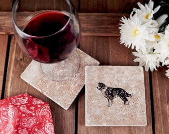 Set of 4 Border Collie Travertine Stone Coasters