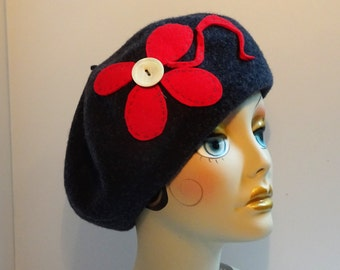 French Beret 1930's Look Gray Wool  With Red Trim