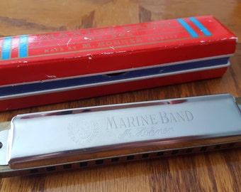 M. HOHNER Marine Band Harmonica No. 365 Key of C Made in Germany Vintage