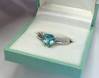 Paraiba Blue Apatite Trillion Cut Solitaire Gemstone Ring Solid Sterling Silver with Free Gift