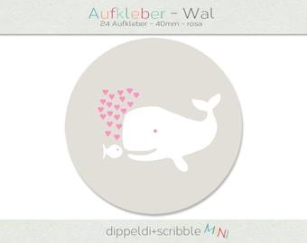 Sticker baby whale heart pink