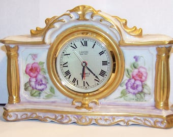 Beautiful Landex Royal Craft Signed Handpainted Porcelain Mantel Battery Operated Alarm Clock