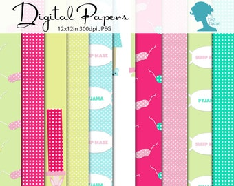 Sleepover/Pajama/Pyjama Digital Scrapbooking Paper Pack, Buy 2 Get 1 FREE. Instant Download