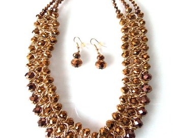 Bronze Beaded Statement Necklace and Earrings Set