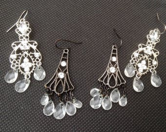 Two Pairs Vintage Fashion Jewellery Drop Earrings.