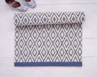 Ivory Blue Geometrical Rug, White and Blue Rug, Diamond Rug, Washable Cotton Rug, Reversible, Woven on the Loom, Made to Order