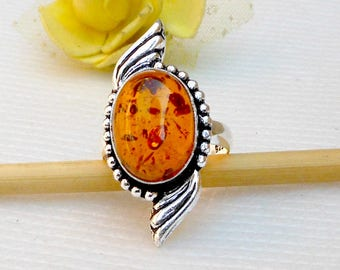 Unique Amber Ring Artisan Jewelry Amber silver ring Amber Gift Jewelry Gemstone Ring Stacker Ring Amber Silver Handmade Ring size 9