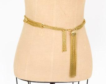 70s Gold Belt   Gold Chain Tassel Fringe Wrap Belt