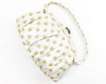 50s White and Gold Satin Evening Bag | Garay