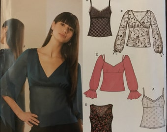 New Look 6326 - Empire Waisted Top with V Neckline and Faux Wrap Option - Size 8 10 12 14 16 18