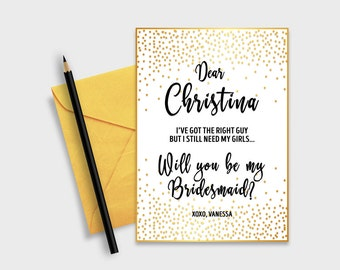 "Will you be my bridesmaid? Printable Proposal Card, Gold Confetti, 5x7"" - Digital File, DIY Print - #GCD"