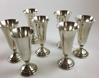 Vintage 1940's set of 7 Sterling Silver cordials