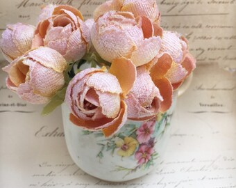 velvet dogwood rose posy by Miss Rose Sister Violet. millinery velvet flowers. peach dogwood posy. flower photo props. corsage. bouquet.