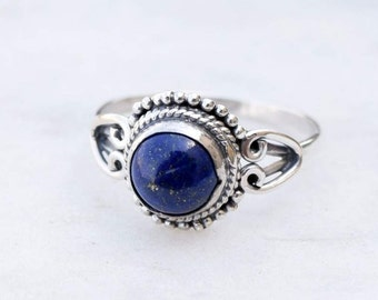 Lapis Ring - Blue Lapis Lazuli Ring - Lapis Jewelry - Silver Ring - Gemstone Ring - Blue Stone Ring, Size 3 To 12(US)