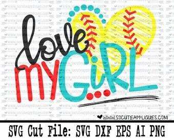 Baseball SVG, Softball SVG, Love my Girls SVG, mom svg, socuteappliques, baseball sister svg, softball sister svg, Tball mom svg