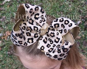 """Big 6"""" Cheetah Leopard Hair Bow - Cheetah Hair Bow - Leopard Hair Bow - 6"""" Hair Bows - 7"""" Hair Bows - Cheetah Bows  - Leopard Bows"""