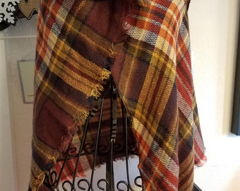 SALE! was 9.00 now 6.00, Scarf, Scarves, Plaid, Blanket Scarves, Triangle Blanket Scarf, Super Soft