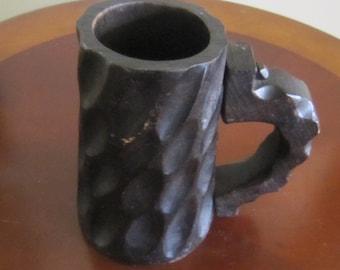 Dark Wood Beer Stein, Beer Mug, Hand Carved Mug, Medieval Mug, Pegged Handle Mug,