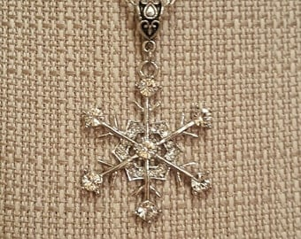 Rhinestone Snowflake Necklace, 1 1/2""