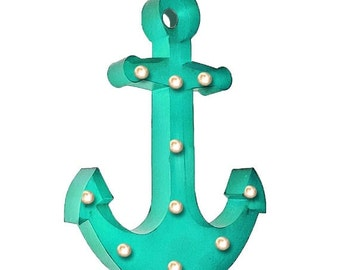 "Large 24"" Metal PLUG-IN Marquee Nautical Beach Ship Ocean Anchor Light Sign - 22 Colors!"