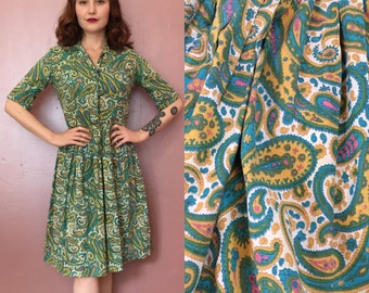 Small 1950s Carol Brent Paisley Fit and Flare Dress/50s shirtwaist dress