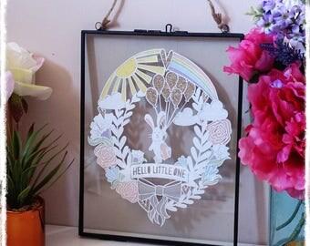 Hello Little One - Baby Papercut - New Baby Gift - Nursery Decor