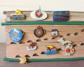 Vintage State Souvenir Travel Pins / Enamel Lapel Pin / Instant Collection / Canada Alaska Maine Hong Kong France