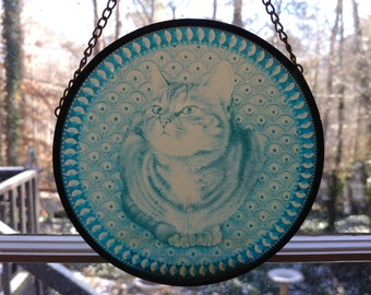 1990 Enesco Ivory Cats Window Hanging by Lesley Anne Ivory