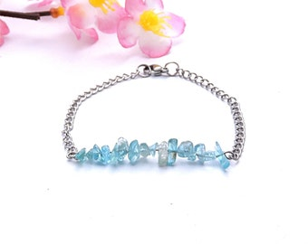 Stainless steel chain bracelet, blue apatite jewelry, delicate chic bracelet, stainless steel jewelry, apatite bracelet delicate jewelry shi