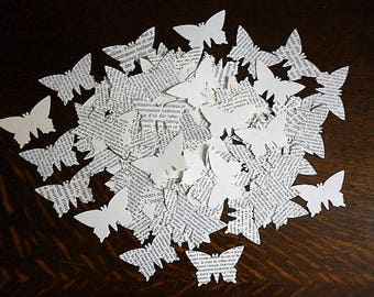 110 punch  butterflies - vintage recycled French book pages - embellishment for all projects, srap, cards, garland ...